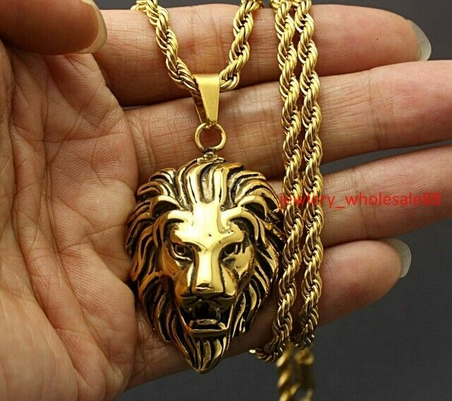 Large Stainless Steel Biker Gold Lion Heads King Pendant