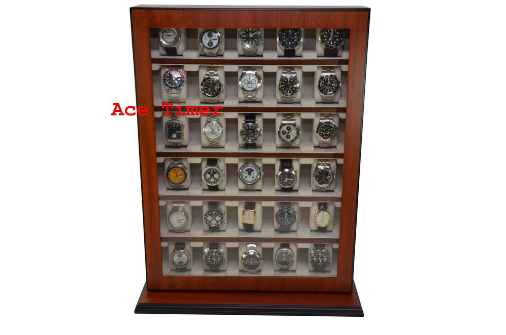 30 Watch Mahogany Stand Wall Mount Display Storage Case