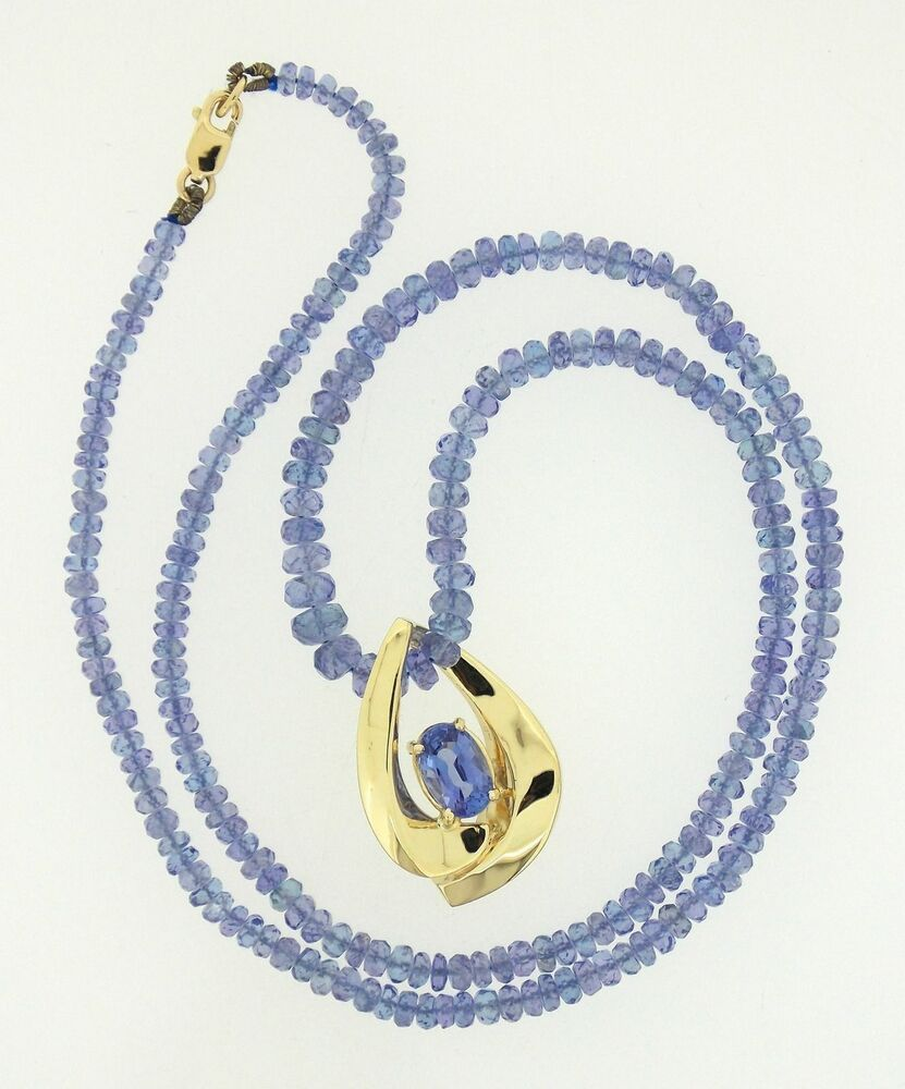 Tanzanite Necklace Tanzanite: 14K Yellow Gold & Tanzanite Pendant On Tanzanite Bead