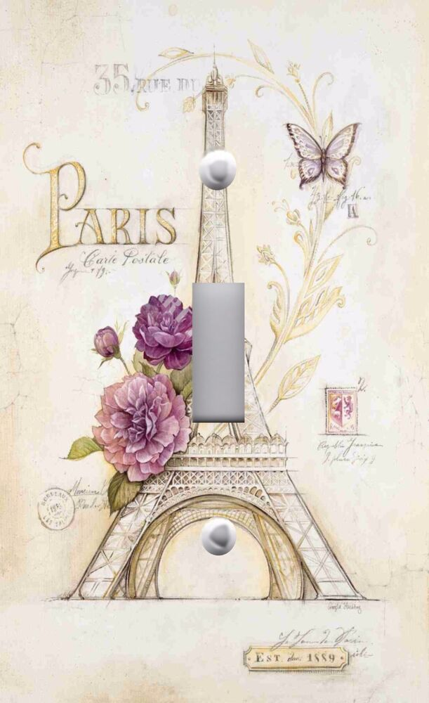 Light Switch Plate Outlet Covers Paris French Eiffel Tower