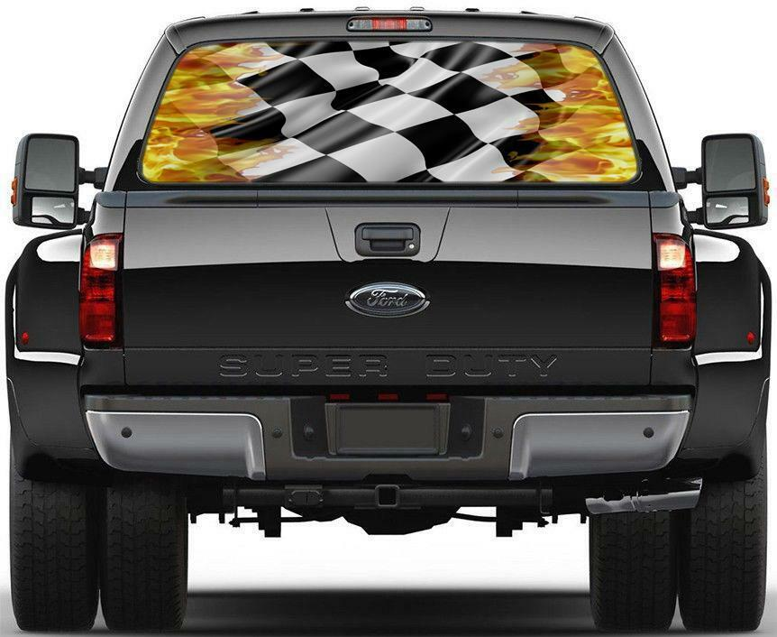 Flaming Checkered Flag Rear Window Graphic Decal Sticker