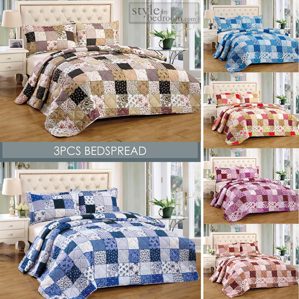 floral vintage patchwork quilted bedspread throw 2 pillow shams ebay. Black Bedroom Furniture Sets. Home Design Ideas