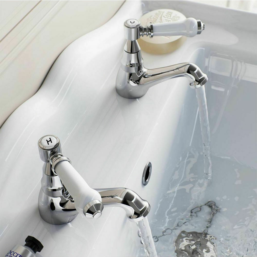 Bathroom Basin Sink Taps Ceramic Lever Victorian Traditional Hot Cold Pair Ebay