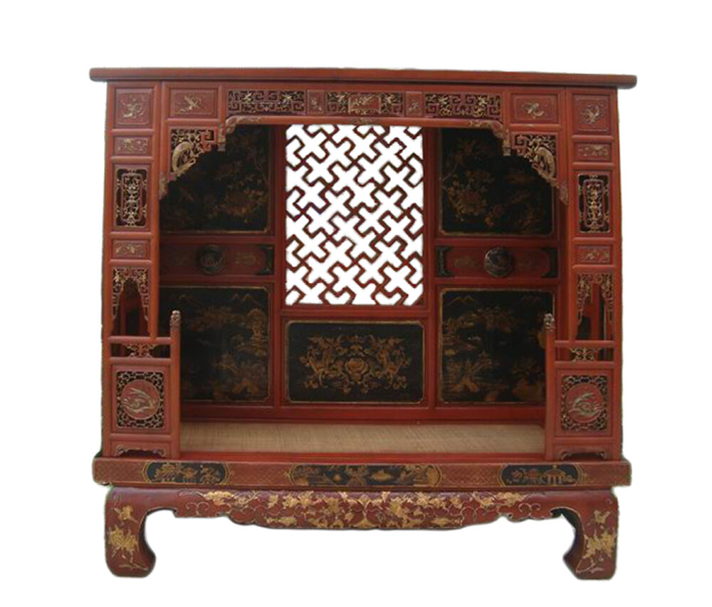 Chinese vintage fujian red gold scenery carving canopy for Chinese furniture ebay australia