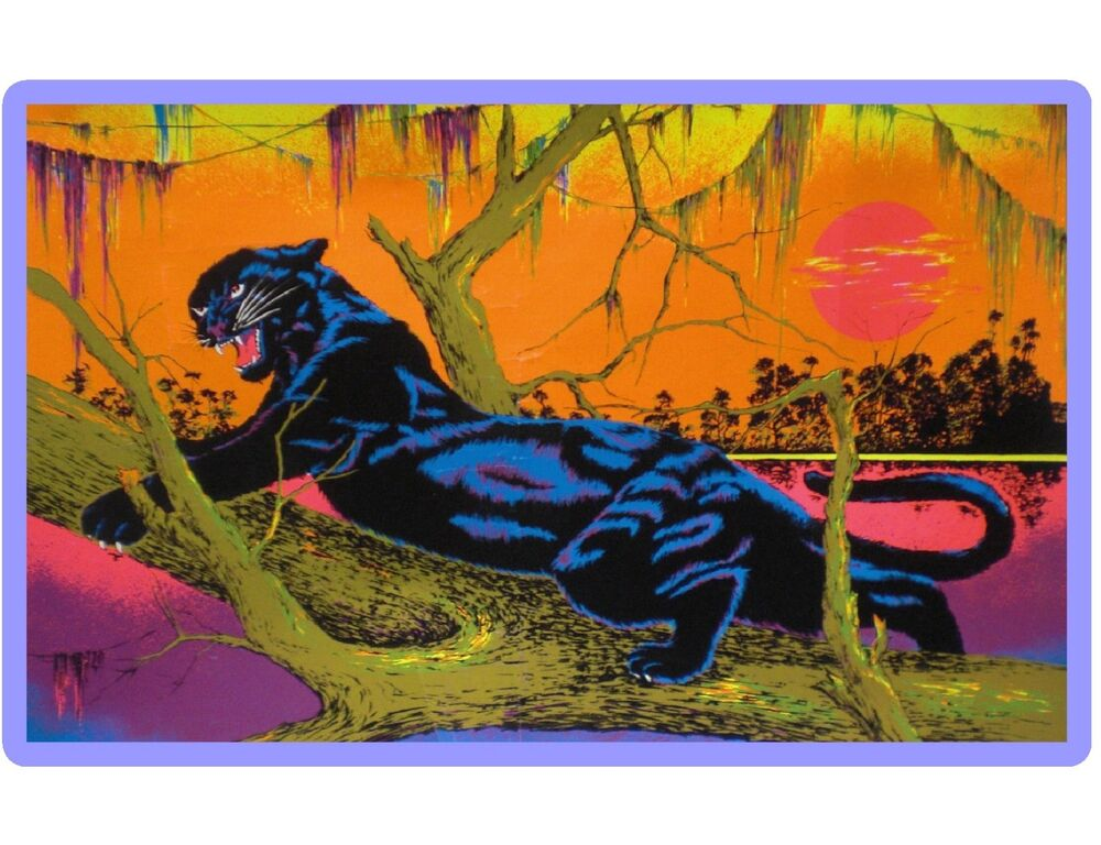 BLACK LIGHT JUNGLE CAT PANTHER 70's POSTER IMAGE ...