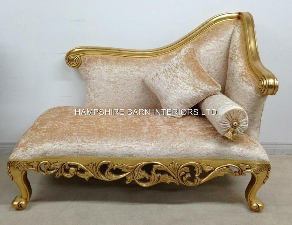 Small Chaise Longue Ornate Gold Leaf Cream Crushed Velvet Neoclical Sofa