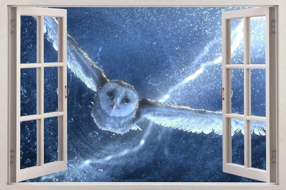 White Owl Snow Storm 3d Window View Decal Wall Sticker