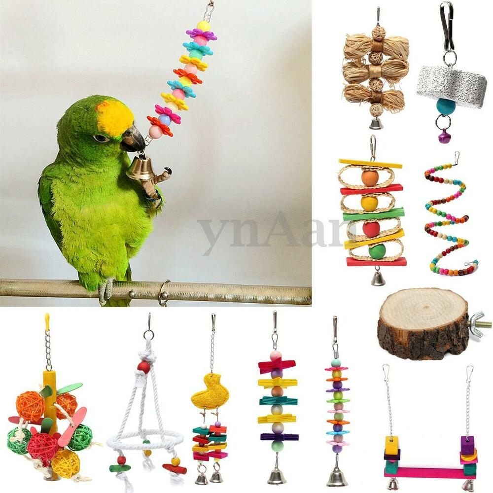 pet bird parrot chew bite toys ball stand swing cage hanging cockatiel parakeet ebay. Black Bedroom Furniture Sets. Home Design Ideas