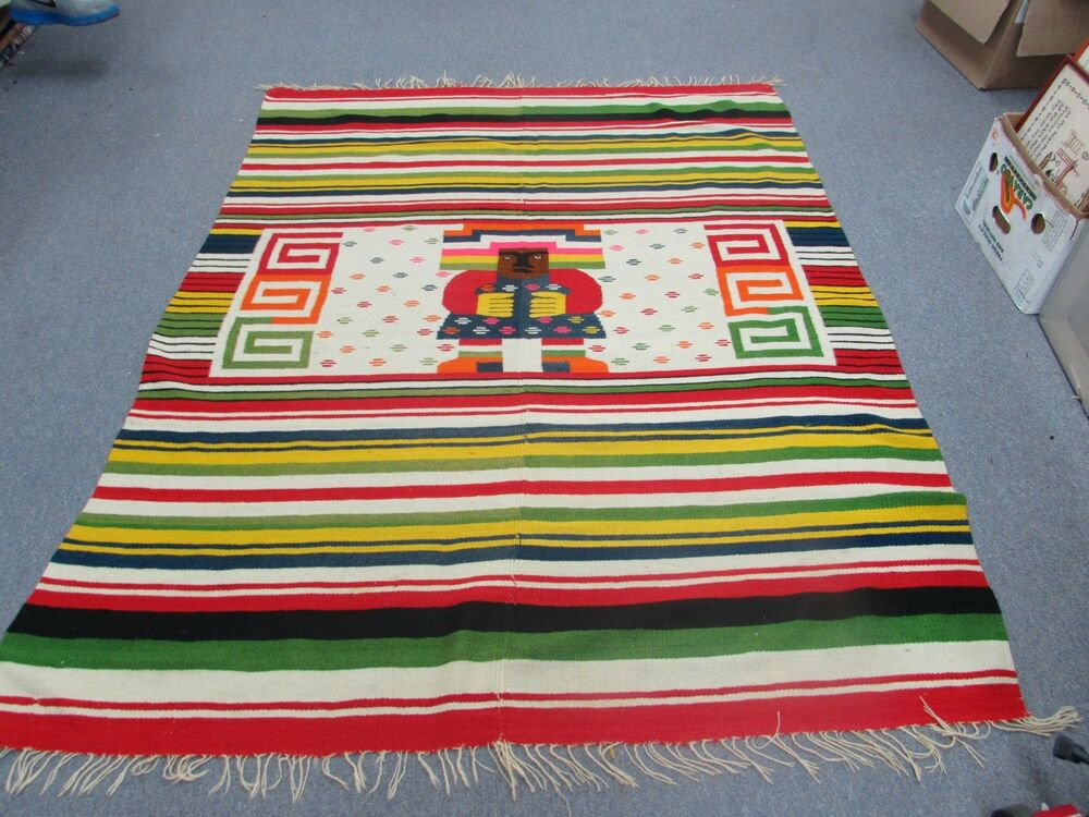 Vintage Mexican Folk Art Blanket Weaving Wool Kilim Rug 2