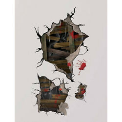 HALLOWEEN HAUNTED HOUSE wall stickers MURAL 4 decals holes ghosts blood cobwebs