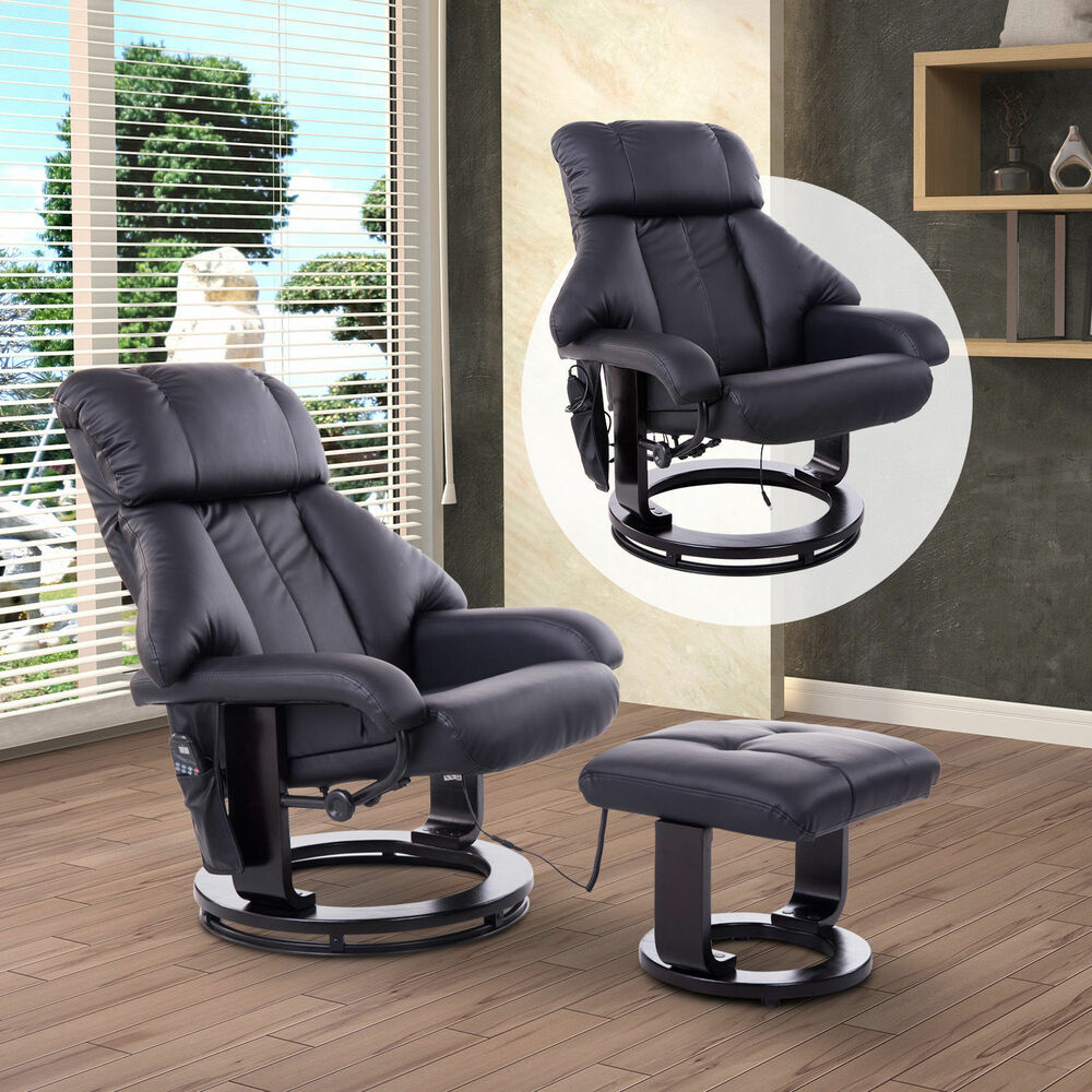 massagesessel inkl hocker fernsehsessel relaxsessel mit w rmefunktion drehbar ebay. Black Bedroom Furniture Sets. Home Design Ideas