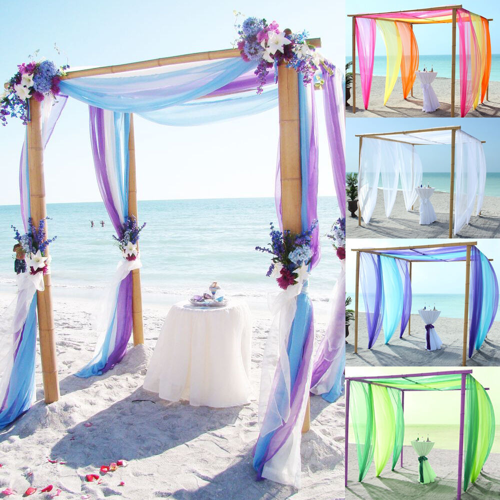 Wedding Arch Decoration Ideas: 5M/10M Sheer Organza Fabric Beach Wedding Ceremony Bouquet