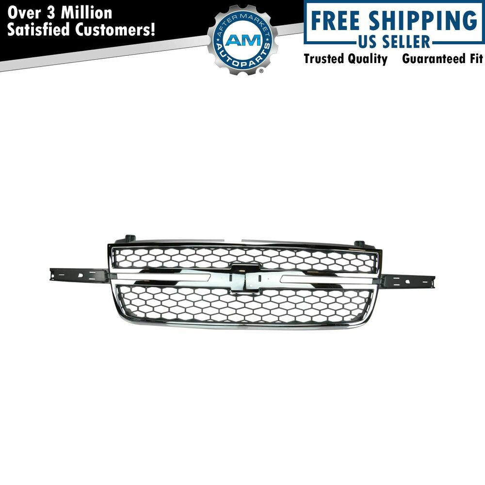honeycomb grille chrome  u0026 gray for chevy silverado pickup