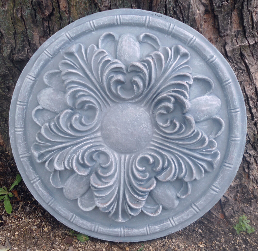Plastic stepping stone wall medallion plastic mold for Concrete craft molds