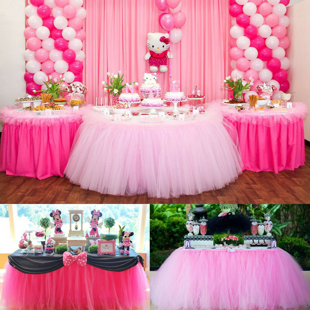 customized 100cm tutu tableware tulle table skirt party. Black Bedroom Furniture Sets. Home Design Ideas