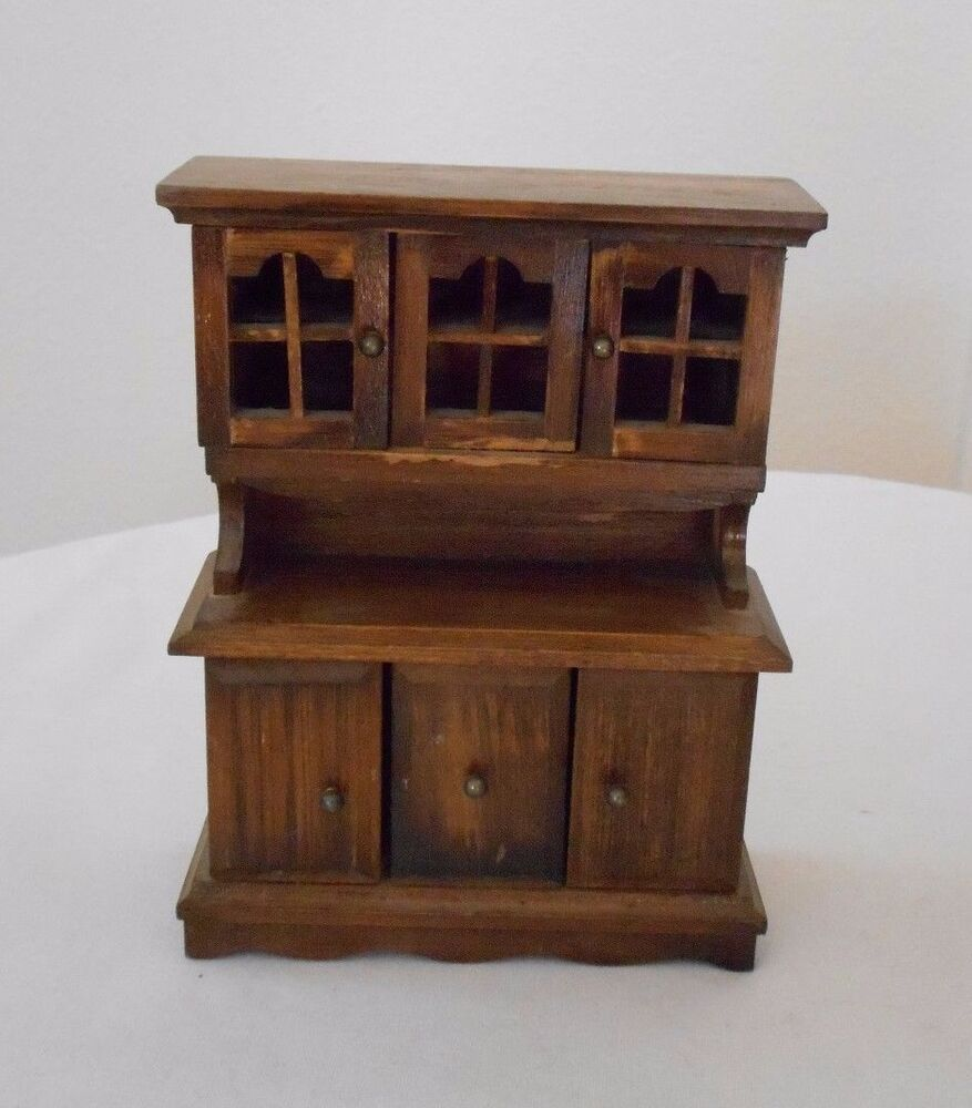 Old Vintage Miniature Dollhouse Furniture Wooden Hutch China Cabinet Doors Open Ebay
