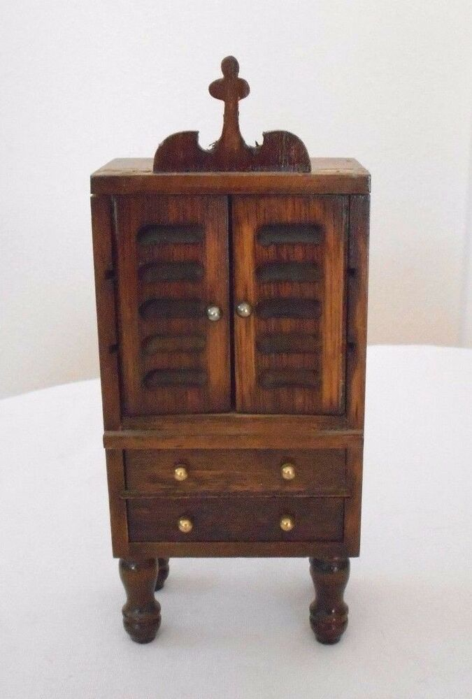 Old vintage miniature dollhouse bedroom furniture wooden