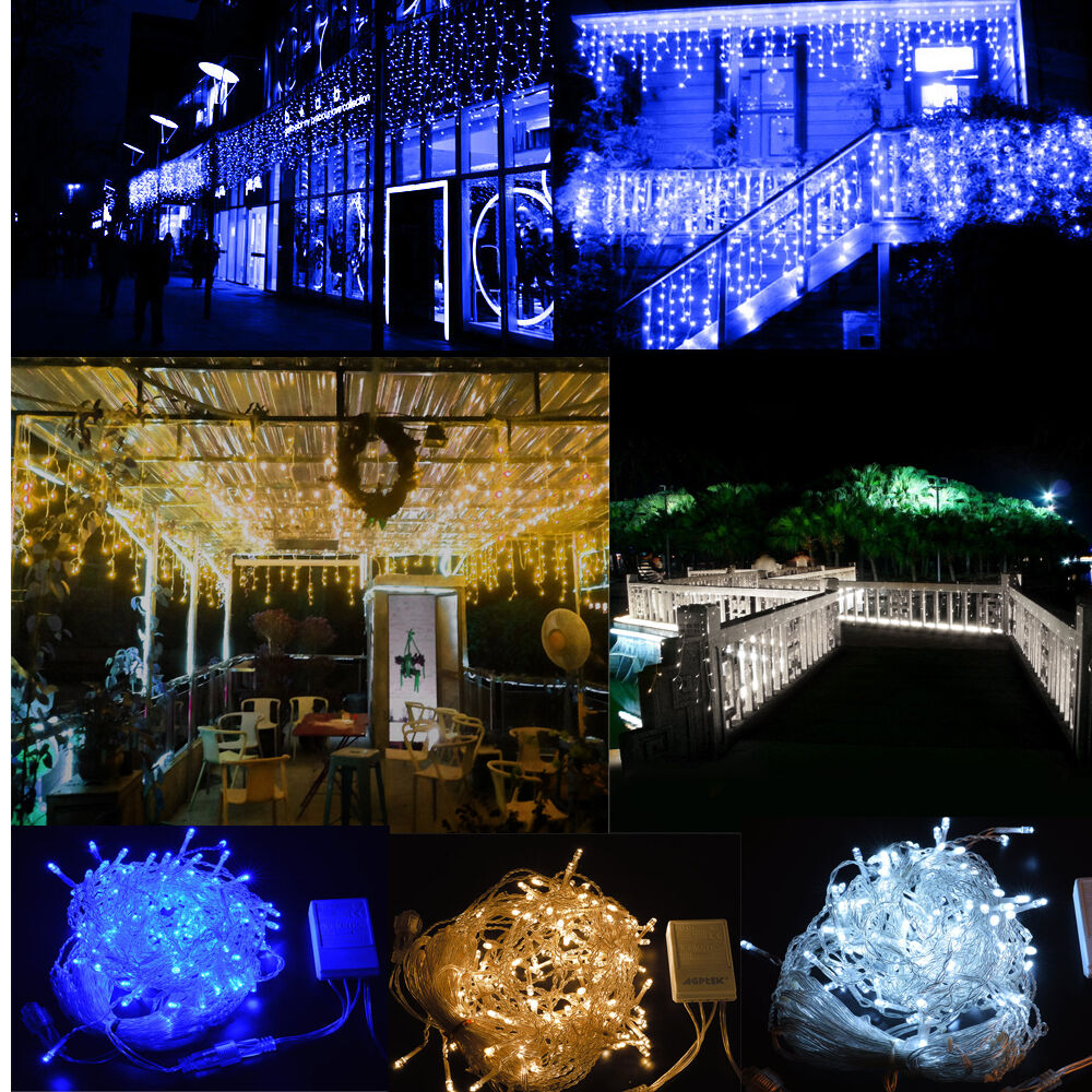 150 300 led fairy curtain icicle string lights for wedding for Led craft christmas lights
