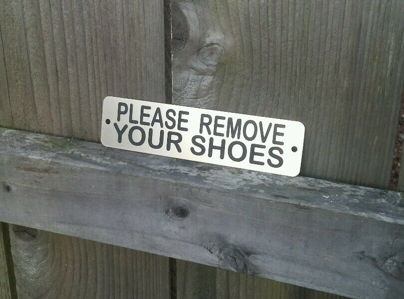 please remove your shoes metal sign