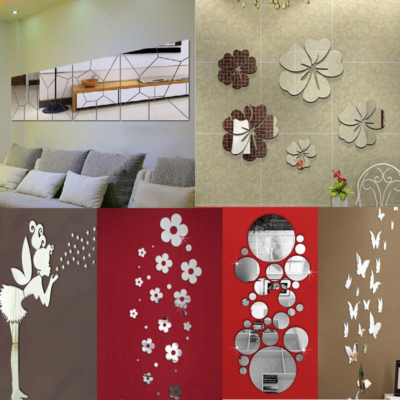 Removable mirror decal art mural wall stickers home decor for Room decor art