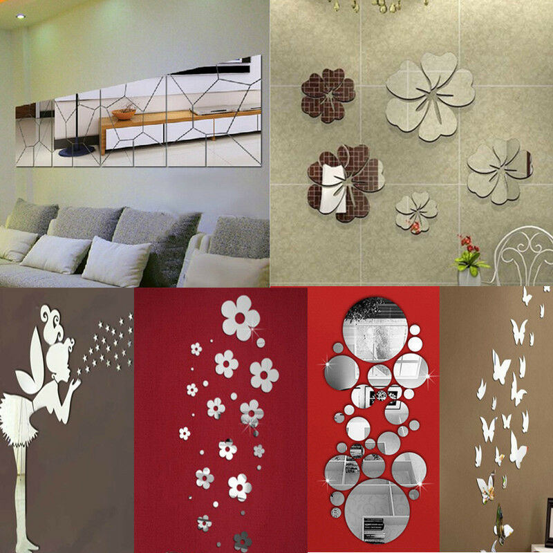 Removable mirror decal art mural wall stickers home decor diy room decoration ebay - Wall decor mirror home accents ...