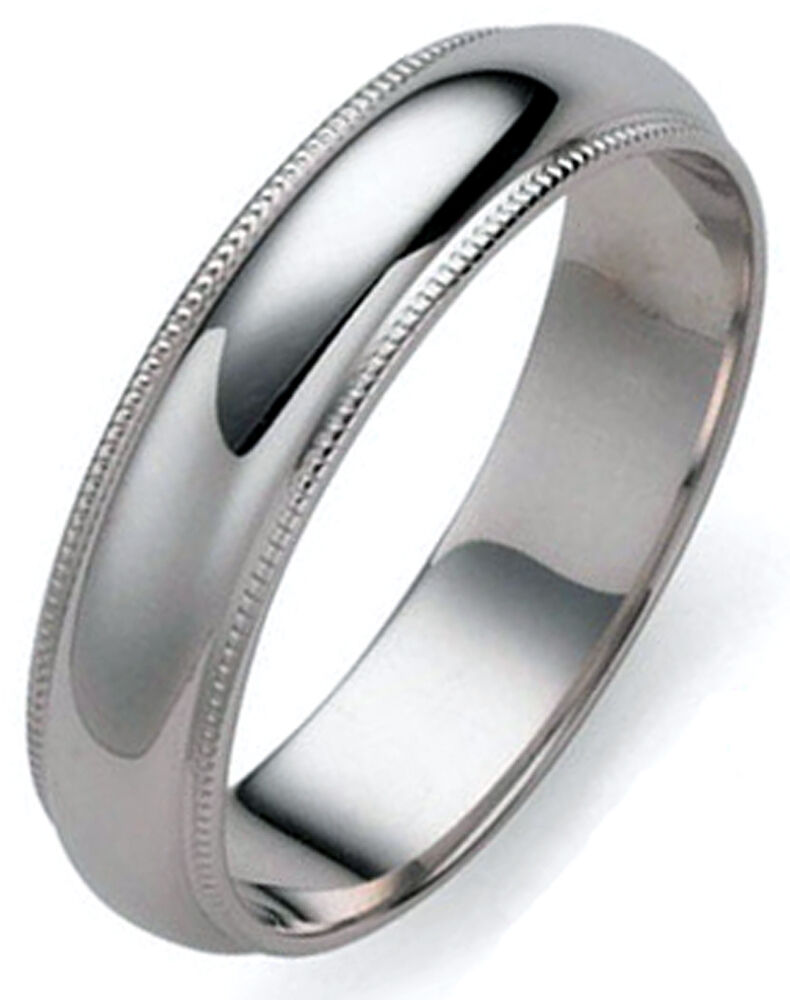5 mm millgrained platinum dome s wedding band ring 1