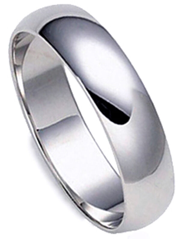 5 mm PLATINUM Plain Polished Dome Men Wedding Band Ring 1 ...