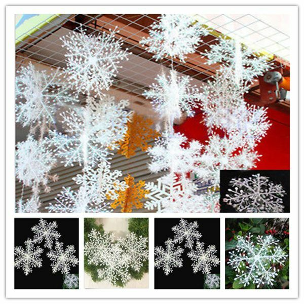Christmas home decor white snowflakes xmas tree for Ebay decorations home