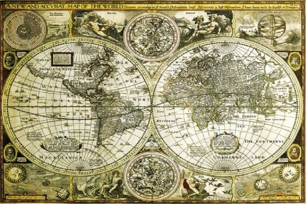 24x36 World Map Gold Historical Wall Decor Print shrink wrapped eBay