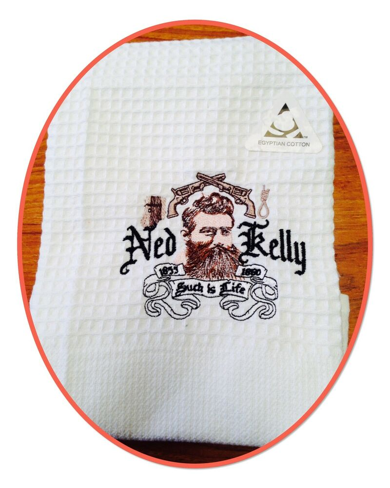 NEW WAFFLE TEA TOWEL EMBROIDERED WITH ' NED KELLY '