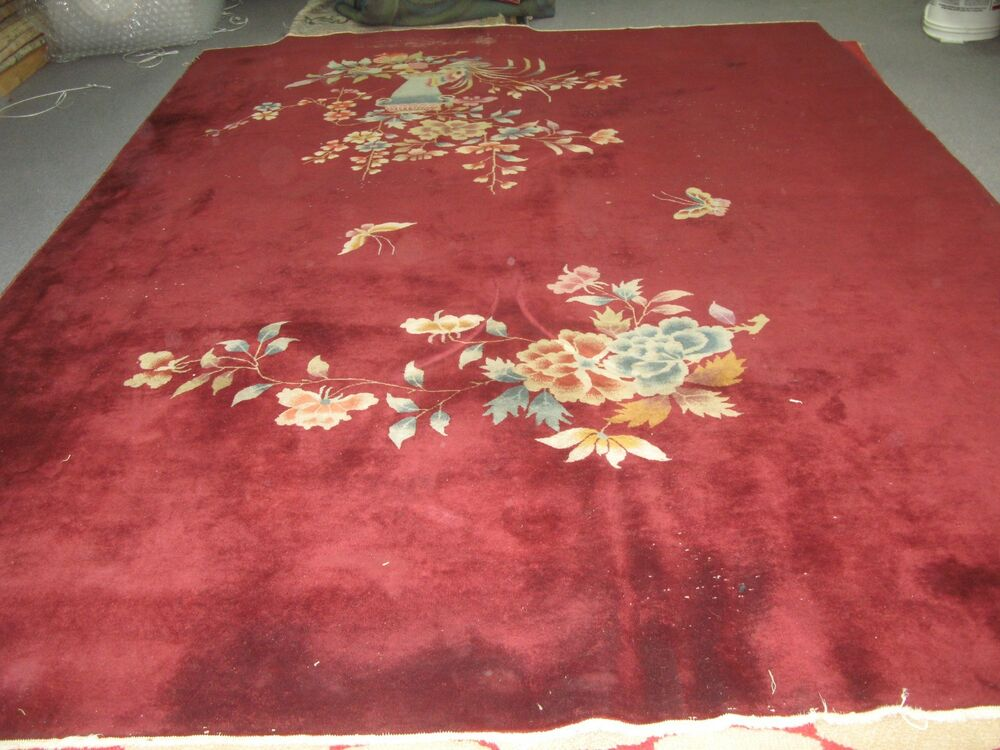 Antique Art Deco Chinese Rug Vase Design Red Hand Knotted