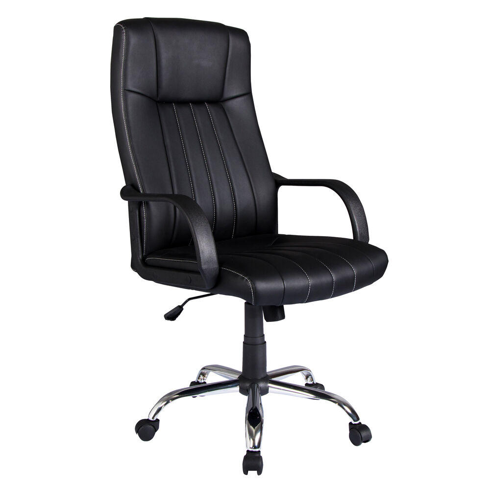 New Black PU Leather High Back Office Chair Executive Task Ergonomic Desk 302