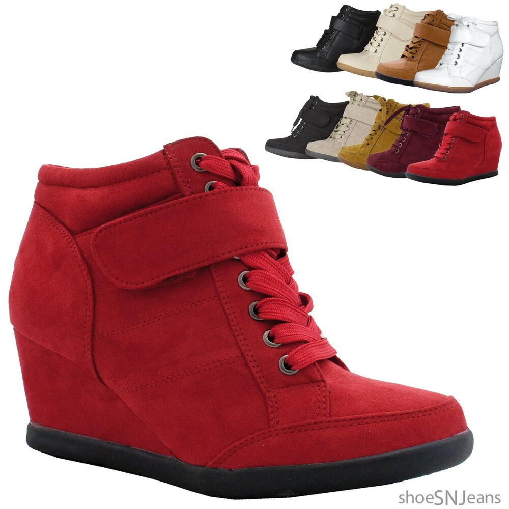 new fashion wedge heel sneakers platform lace up