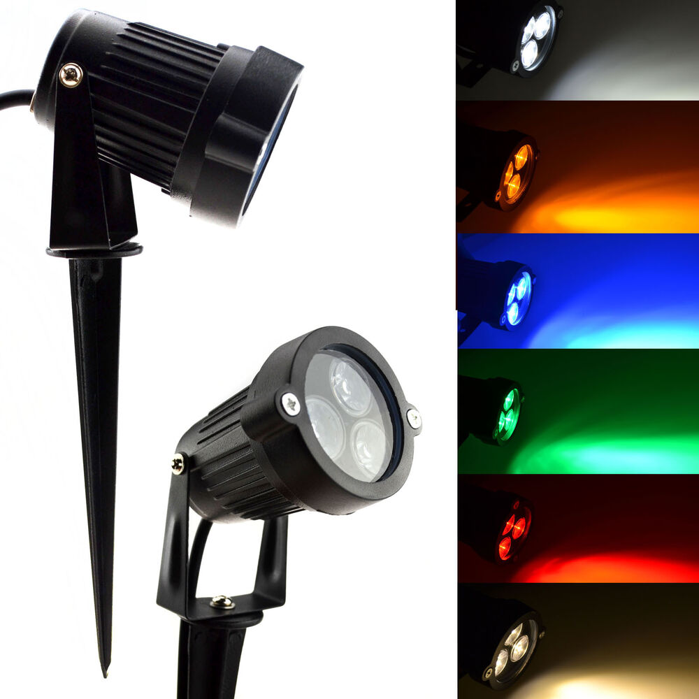 9w led spike light bulb lamp spotlight outdoor garden yard path pond landscape ebay. Black Bedroom Furniture Sets. Home Design Ideas