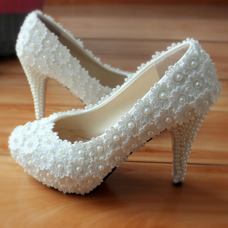 UK Pearls Lace High Heels Wedding Shoes White Flower Bridal Dress Shoes Size 5 6
