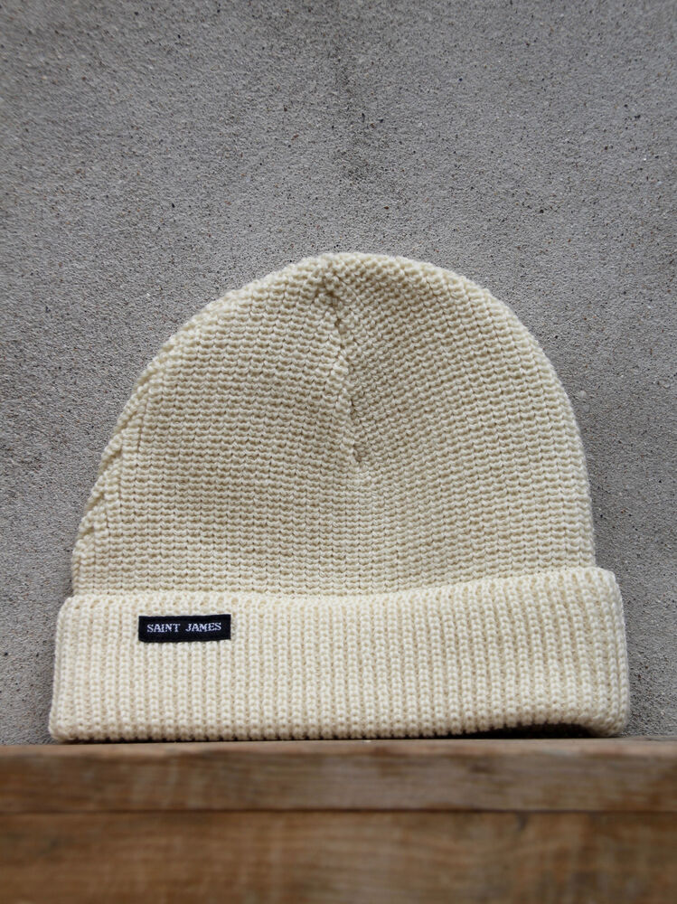 8209723eeb6 Details about Sailors Watch Cap by Saint James in Cream- Chunky Wool Knit  Hat - Made in France
