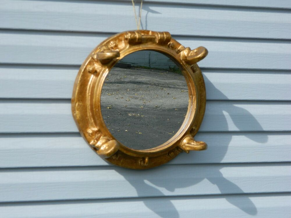 "Gold Resin Porthole Mirror 17"" Diameter Home Decor"