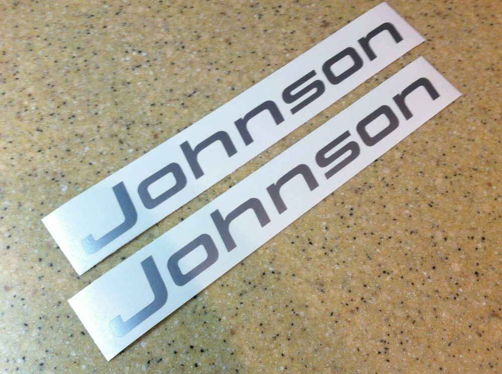 Johnson Vintage Outboard Motor Decals Silver 2 Pak Free