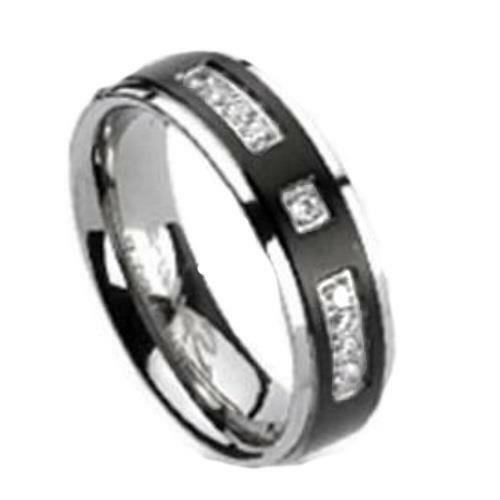 Womens Black Wedding Bands: Womens Black Titanium Simulated Diamond Accent Wedding