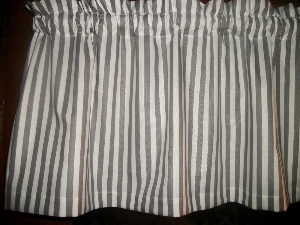 Gray White Striped Stripes Stripe Fabric Window Topper Curtain Valance Ebay