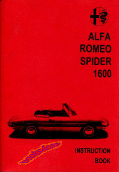 ALFA ROMEO DUETTO SPIDER OWNERS MANUAL HANDBOOK GUIDE BOOK