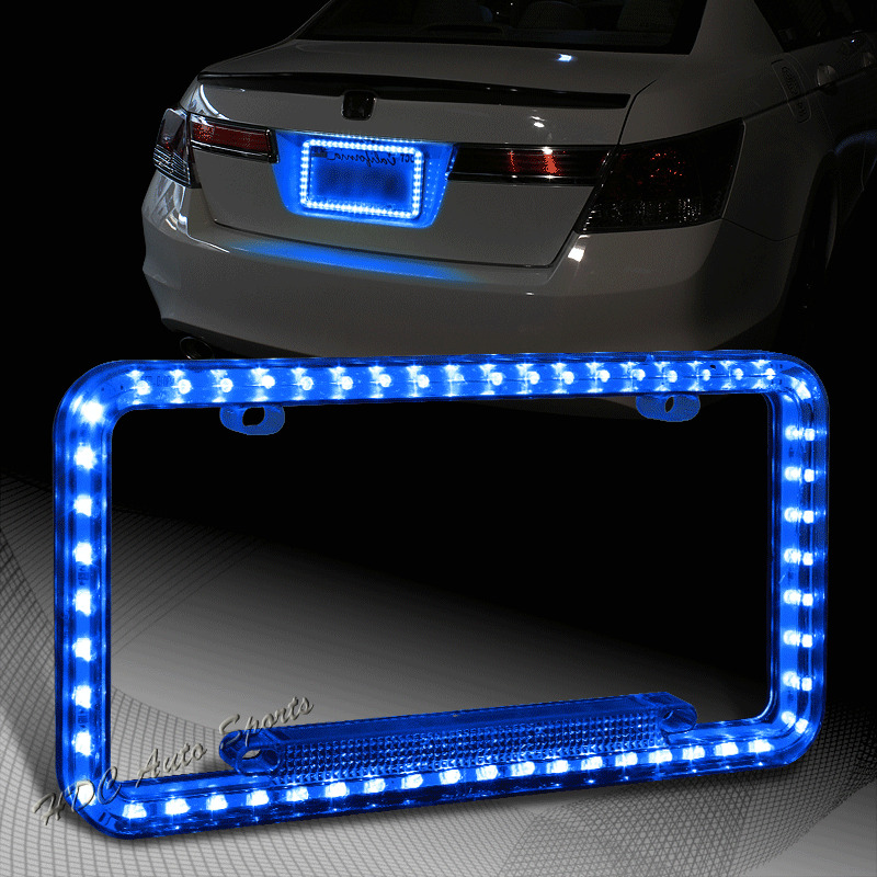 Aluminum License Plate Frame >> 1 x Universal 54 Blue LED Light Flash Front Rear License Plate Cover Frame Kit | eBay