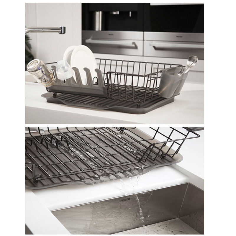 Stand water drain dish drying rack cup spoon fork holder shelf sink kitchen new ebay - Kitchen sink drying rack ...