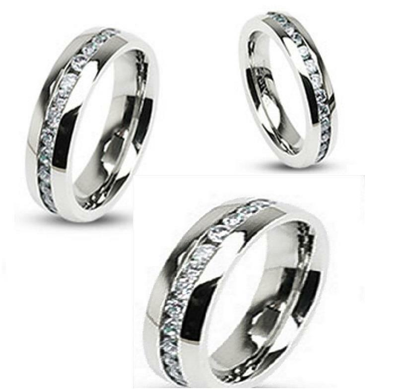 Stainless steel men women his her simulated diamond for Mens eternity wedding band