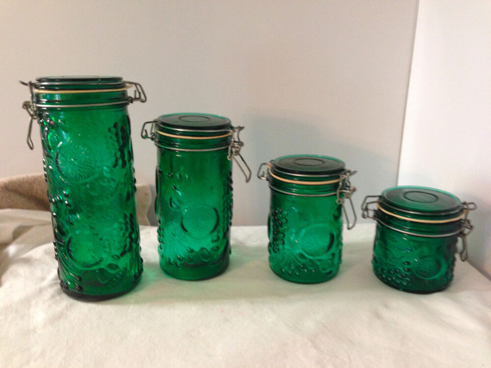 green glass kitchen canisters vintage green glass storage canister set 4 embossed fruit 3987