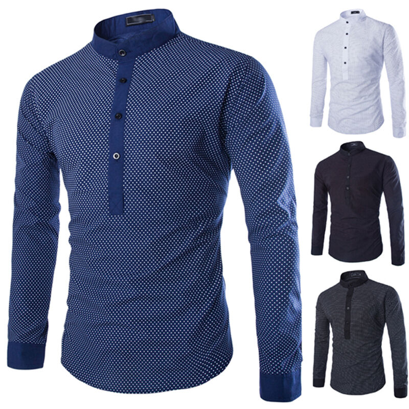 new men classic kurta dress shirt popover shirts mandarin