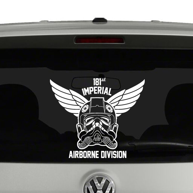 Star wars inspired tie fighter airborne vinyl decal Getting stickers off glass