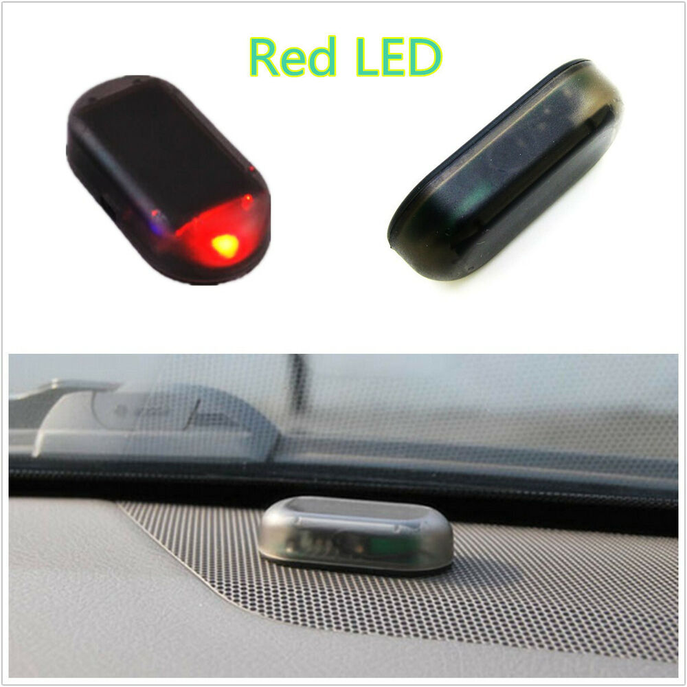 new solar powered auto interior red led alarm warning anti theft flashing light ebay