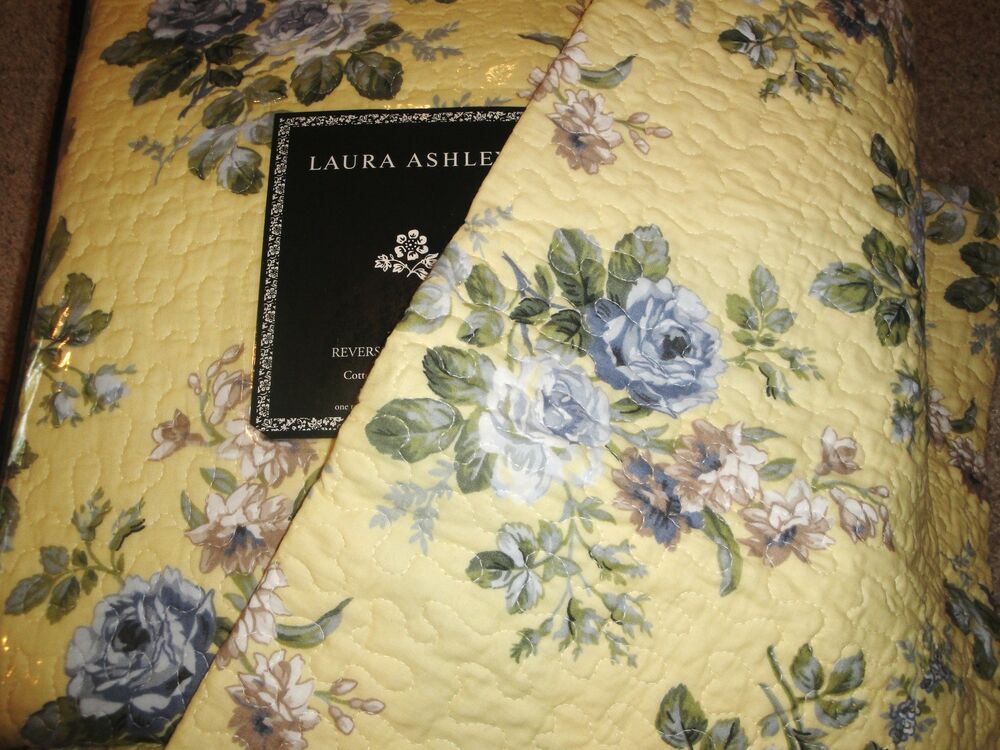 Laura Ashley Linley Yellow Blue Floral Rose Twin 2pc Quilt Set Cottage Chic Ebay
