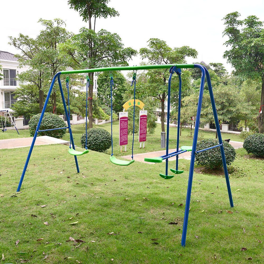 Playground Metal Swing Set Swingset Play Outdoor Children